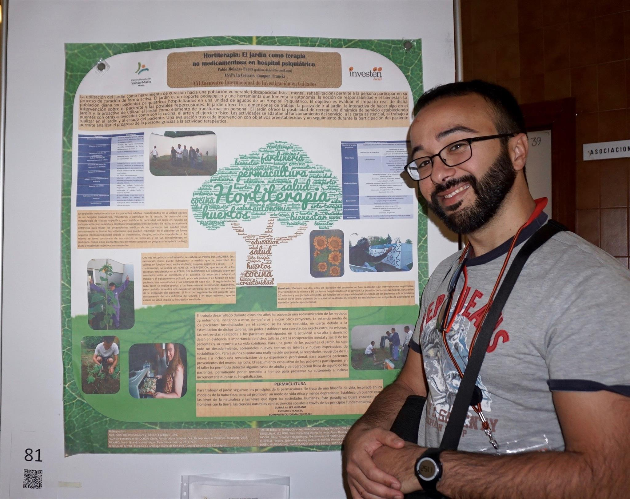 presentation de l'atelier jardin lors d'un congres de recherche infirmier à Madrid novembre 2017